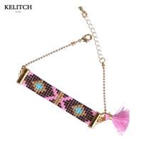 KELITCH Jewelry 2017 New Statement 1Pcs Fashion Crystal Seed Beaded Bright Beautiful Lovely Pink Tassel Friendship Bracelet