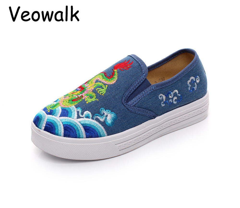 Veowalk Handmade Chinese Dragon Embroidered Ballet Flats Women Slip on  Canvas Flat Shoes Low Top Ladies Casual Denim Loafers-in Women s Flats from  Shoes on ... 15975071688e