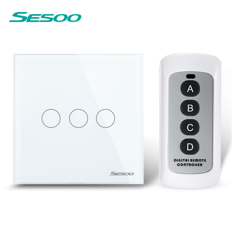 EU Standard SESOO Remote Control Switch 3 Gang 1 Way,Crystal Glass Switch Panel,Wall Light Touch Switch+LED Blue Indicator smart home touch switch power switch eu standard black 3 gang 1 way crystal glass wall switch 220v light switch control led