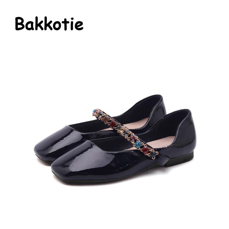 Bakkotie 2018 Spring New Fashion Baby Girl Rhinestone Princess Shoe Children Pu Leather Flat Kid Sweet Brand Party Mary Jane