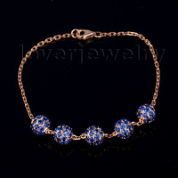Hot Sale Vintage Solid 18kt Rose Gold Blue Sapphire Engagement Bracelet