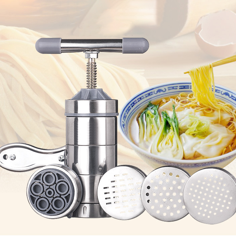 Hand Pressure Noodle Maker Stainless Steel Homehold  Pasta Noodle Machine With Molds Handmade Spaghetti Machines Kitchen Tools