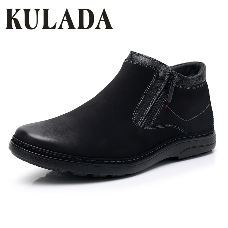 KULADA New Boots Men's Warm Thick Fur Winter Shoes Cow Suede Comfortable Zipper Side Snow Boots Men Casual Boots
