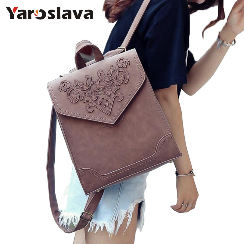 Fashion Women Leather Backpack Female Floral Bag Ladies Softback Character Embossing Backpacks Mochilas School Style Bag  LL644