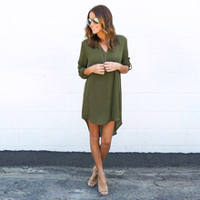 New Sexy Chiffon Women Dress Loose Casual V-Neck Asymmetric Summer Dress Above Knee Ladies Clothing Mini Dresses Women HLD602