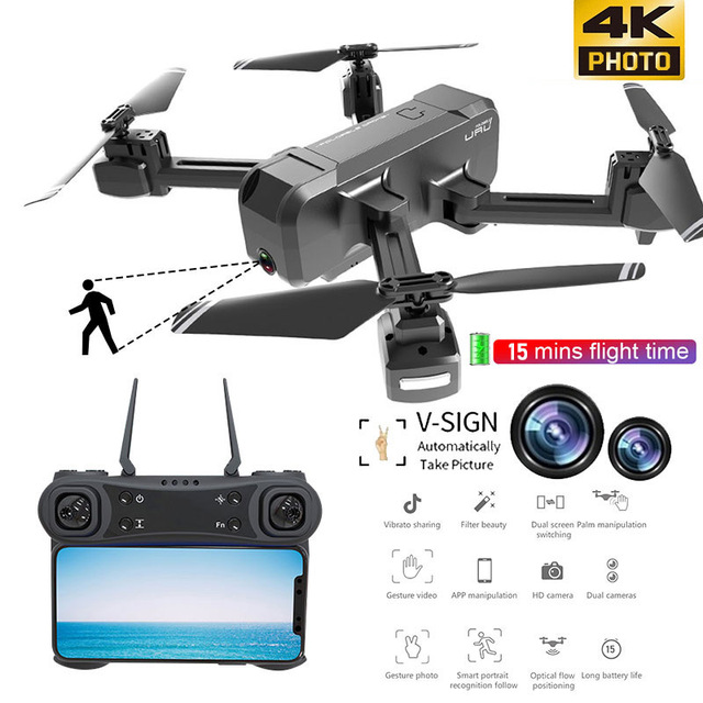 KF607 WIFI FPV RC Foldable Drone 4K Camera Ultra HD Dual Camera Drone Headless Mode One touch Landing Quadcopter Kids Gifts