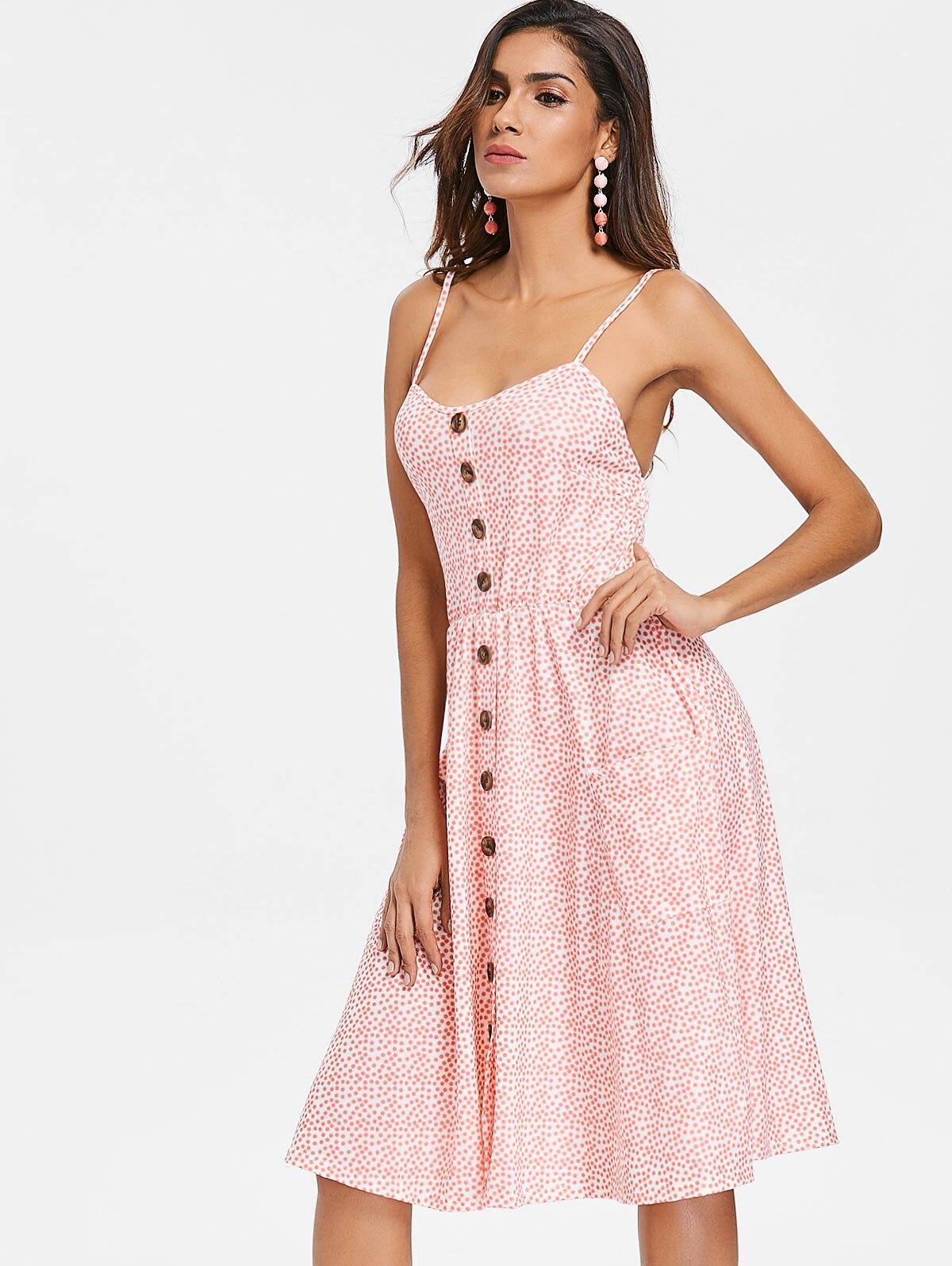Spaghetti Strap Polka Dot Button Up Dress Summer