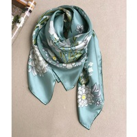 Fresh Green Floral Print 100% Twill Silk Scarf Foulard Women Large Square Silk Scarf Shawl Hijab Head Scarves 35 * 35 Gifts