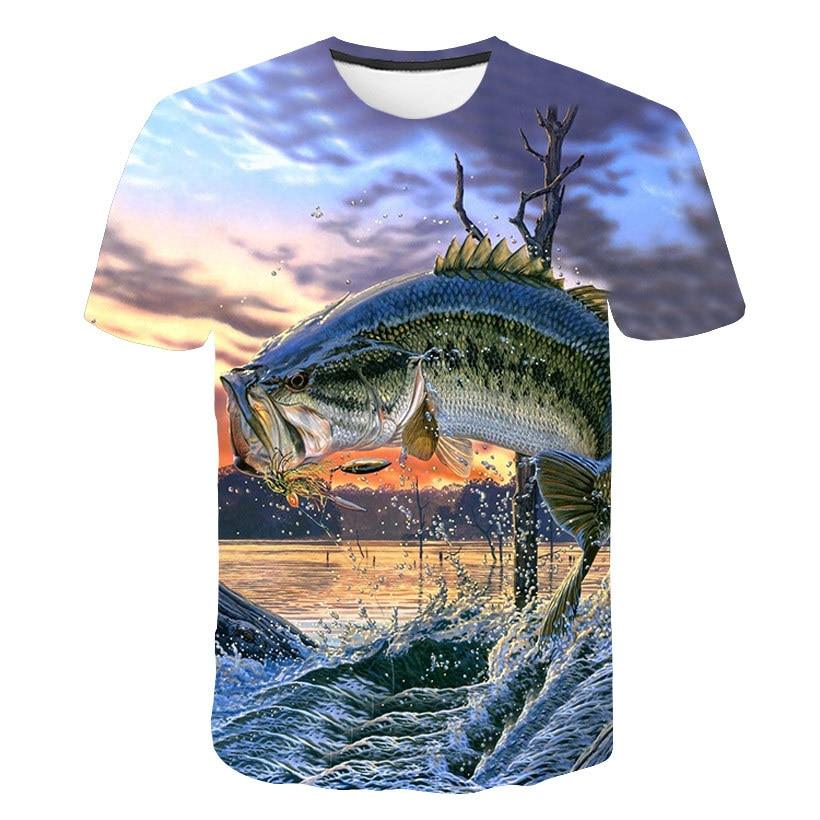 Summer New Men's T-shirt 3d Fish Print T-shirt Funny Fishing T-shirt Fish Hydrophobic T-shirt Man Casual Fashion T Shirt Harajuk