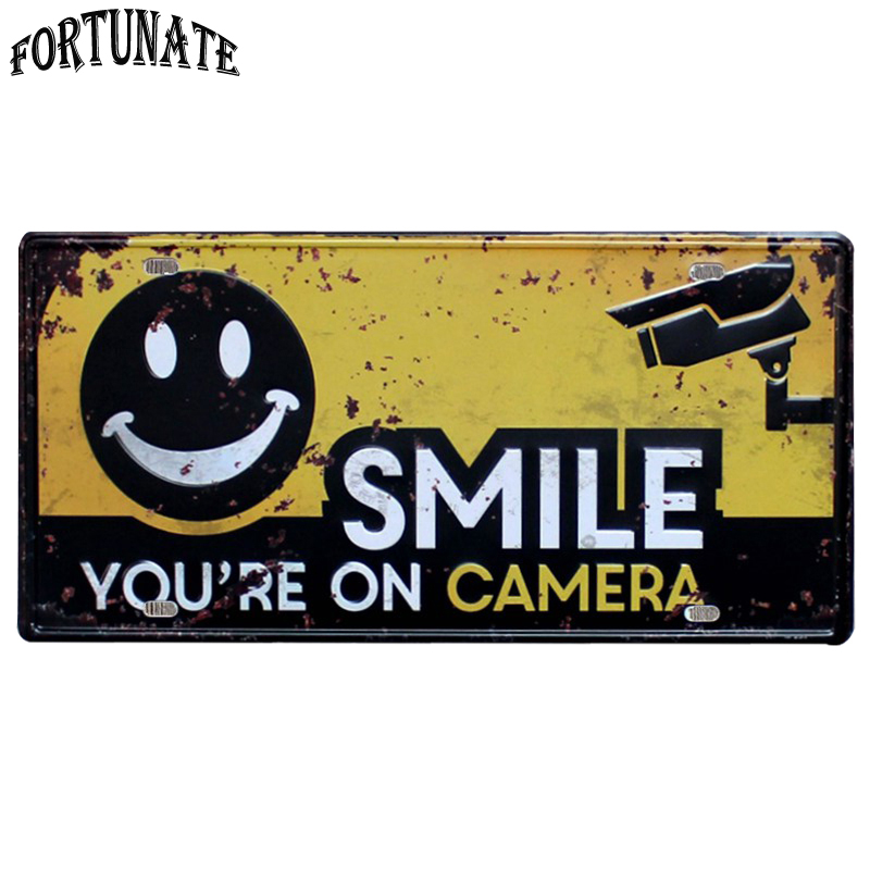You Are On Camera Please Smile Vintage Home Decor Metal Tin Sign Bar\Pub\Hotel Decorative Metal Sign Art Painting Metal Plaque image