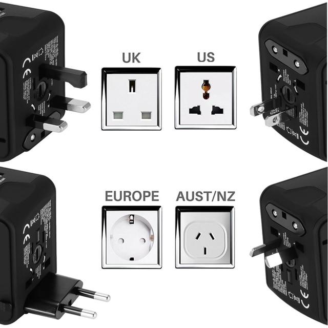 FORNORM Universal Travel Charger Adapter 4 USB Part Adaptor Worldwide Electrical Socket US UK EU AU International Travel Plug 2