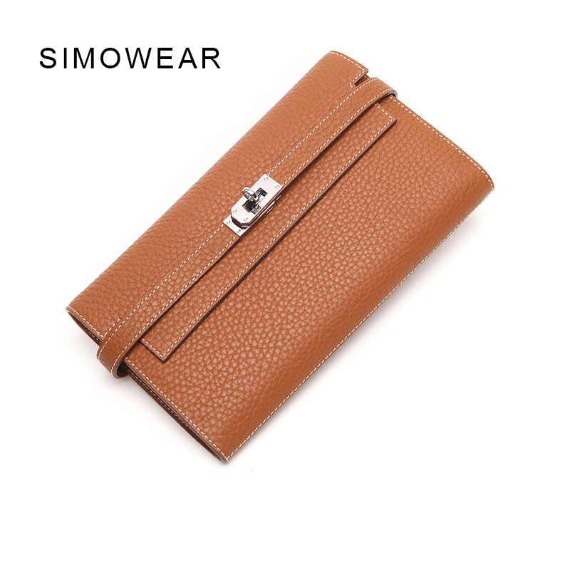 SIMOWEAR  Long Wallet Cow Leather Famous Brand Luxury Purse For Lady Cards Holder H bag Wallets Clutch Female nucelle brand new design french style threads cow leather women lady long wallets clutches cards phone holder