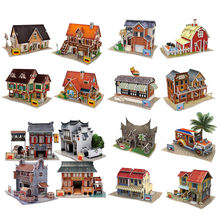 CubicFun Architecture Paper Puzzle Model Toy DIY 3D USA Germany China Houses Puzzles Models Educational Kids Toys(China)