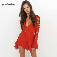 yinlinhe Red lace overalls women long Flare Sleeve summer wrap playsuit Hollow Out Rompers V neck