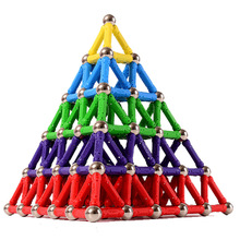 Creative Magnetic Design Blocks Bar Mini Metal Bead Stick Balls Geometric Figure Construction Kit Toys For Kid Intelligence Gift