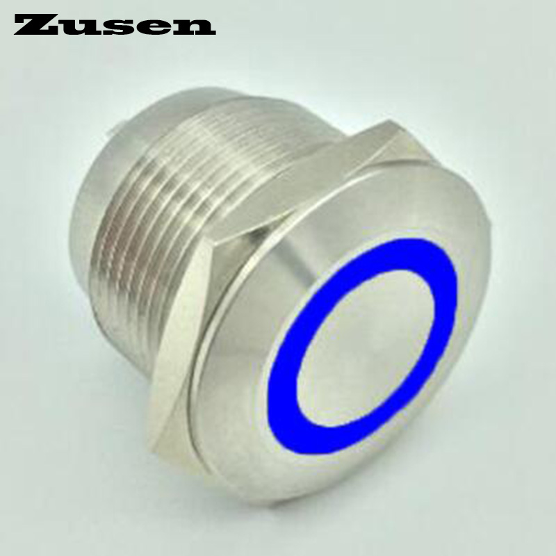 Zusen 40pcs 19mm car engine push start button switch with ring illuminated (GQ19F-10E/J/B/2.8V/S) 1 x 16mm od led ring illuminated latching push button switch 2no 2nc
