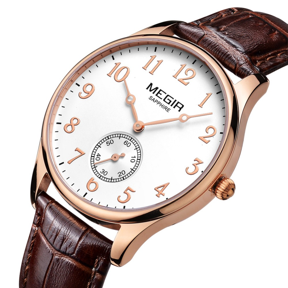 MEGIR 2717 New Brand Sapphire Genuine Leather Gold Watches Men Chronograph Sport Waterproof Business Fashion Casual
