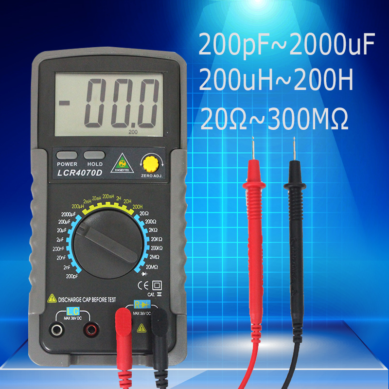 Digital Capacitance Meter Inductance meter test 20 ohm ~200M ohm with LCD Backlight Max 1999 Display Data Hold Function цены