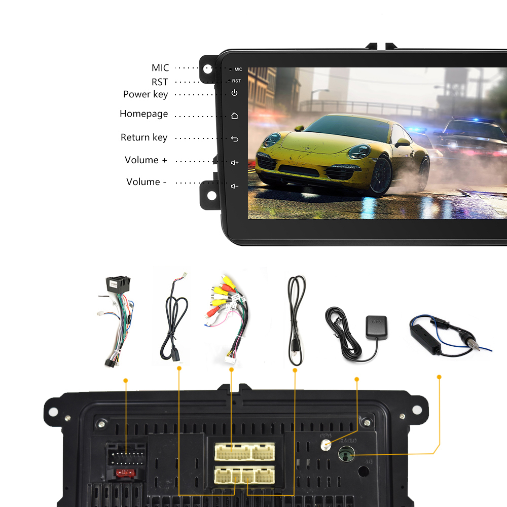 Camecho Android 8 1 Car radio 8'' GPS Navi MP5 Multimedia Video Player 2  DIN Auto Stereo Bluetooth WIFI Auto Audio For VW Radios
