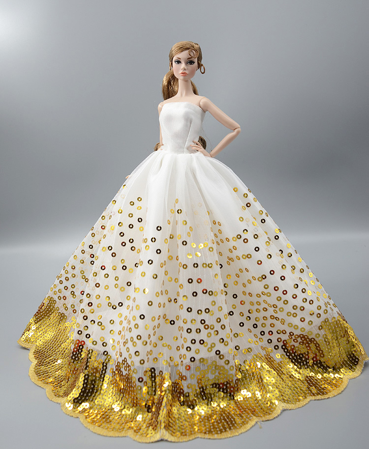 1d1968165aab6 Golden Sequin Bling Dress / Evening Dress Gown skirt Clothing Outfit For  1/6 BJD Xinyi FR ST Barbie Doll Girl gift Doll clothes
