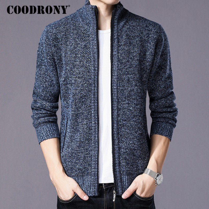 COODRONY Warm Cardigan Wool Sweater Cotton-Liner Zipper Men Cashmere Winter Coat Thick