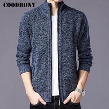 Coodrony 스웨터 남자 옷 2018 겨울 두꺼운 따뜻한 카디 건 남자 캐시미어 울 스웨터 코트 코 튼 라이너 지퍼 코트 h002