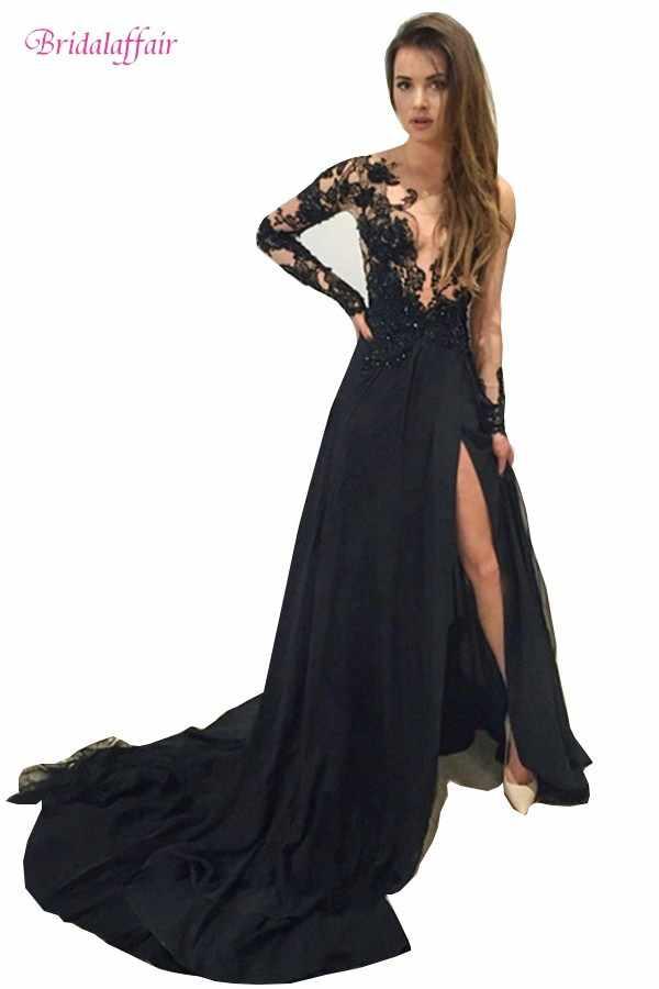 cdbf72dae2e Robe De Soiree Black Long Mermaid Evening Dress 2016 Custom made Scoop Neck Long  Sleeve Floor