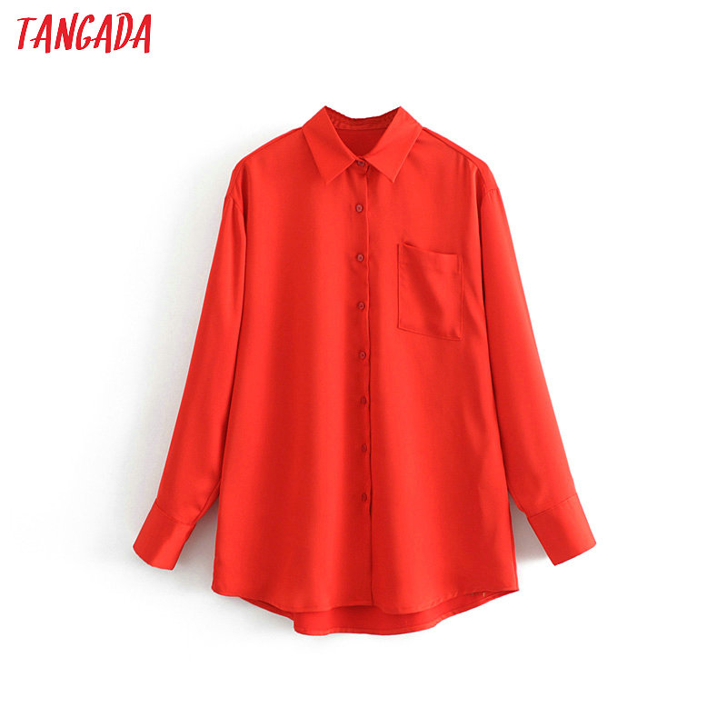 Tangada Fashion Women Red Blouse Long Sleeve Pocket Solid Shirts Office Ladies Elegant Long Top Feminina 3H167