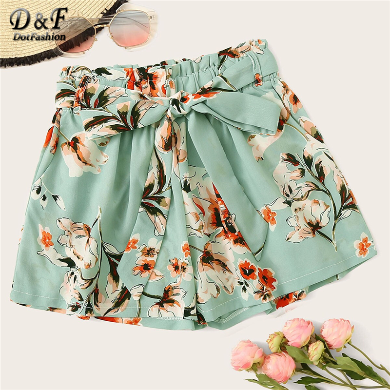 Dotfashion Floral Print Belted Shorts Women 2019 Summer Casual Shorts Ladies Boho Elastic Waist Korean Fashion Wide Leg Shorts