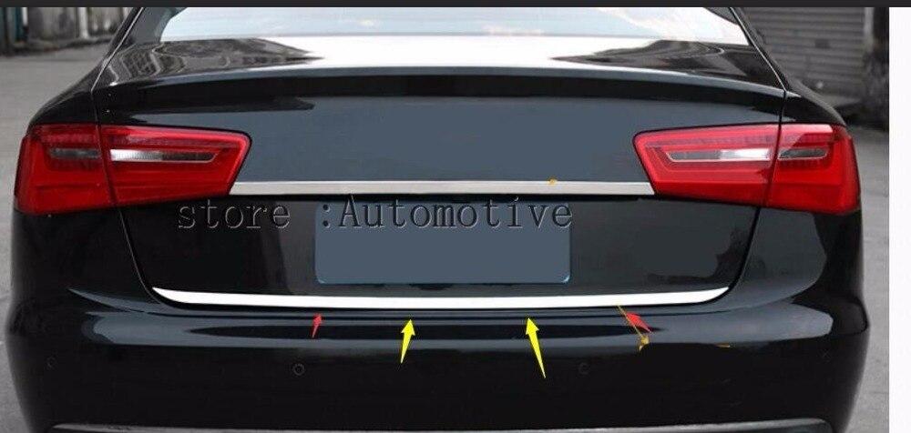 Auto hinten tür trim, schwanz trunk aufkleber für Audi A6 C7 2013 2014 2015 2016 2017 hinten stoßstange abdeckung trim 1 stücke