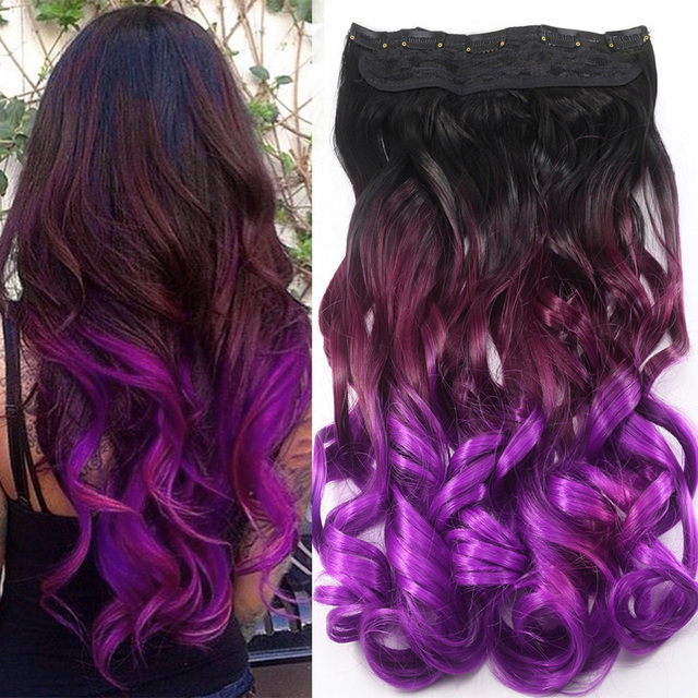 AIMEI 24inch 5Clips Wavy Synthetic Ombre Black to Purple Hair Gradient Hairpiece One Piece Clip in Hair Extensions 3