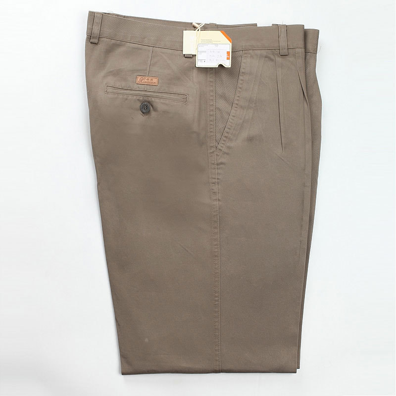 2019 Men Casual Trousers High Waist Loose Pure Cotton Double Pleat Wrinkle Resistant Ironing Large Full Length Plus Size 30-46