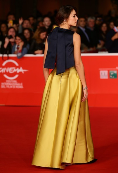 Glamorous Formal Golden Kasia Smutniak Stars Rome Oscar Celebrity Dresses Evening Dress Famous Red Carpet Dresses