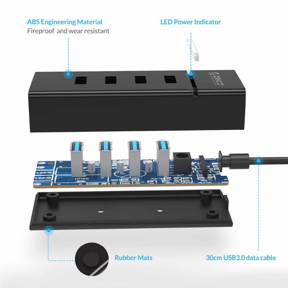 ORICO 4 ميناء USB3.0 HUB 5 Gbps SuperSpeed USB2.0 محور مكتب صغير محور للنوافذ/ماك OS/لينكس-أسود