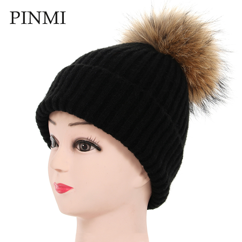 PINMI 2017 Raccoon Fur Pom Poms Black Caps Winter Hats for Women Solid Girl's Warm Wool  Hat Knitted Beanies Brand Female Cap new star spring cotton baby hat for 6 months 2 years with fluffy raccoon fox fur pom poms touca kids caps for boys and girls