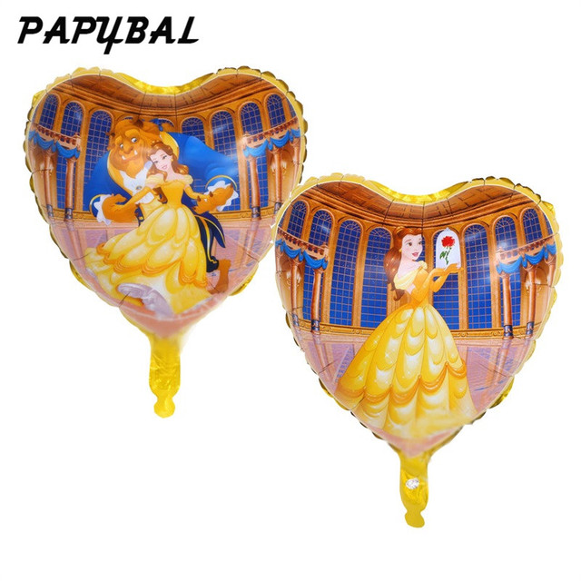 10pcs 18inch heart shape Beauty and The beast foil balloons Wedding Love party supplies Birthday party gift decoration globos