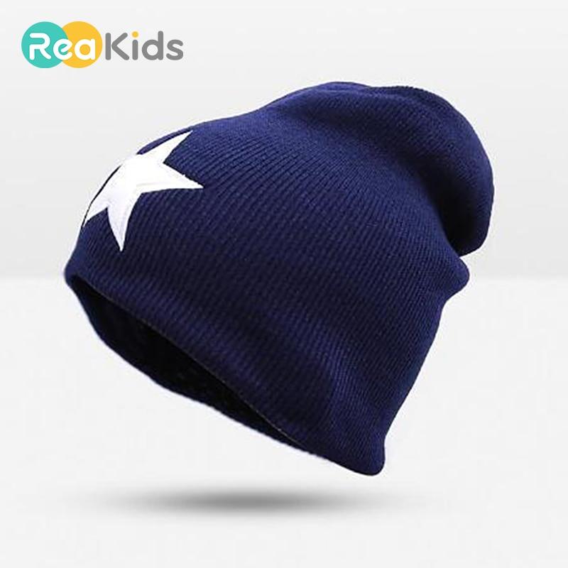 REAKIDS Star Baby Hats Newborn Knitting Cap Soft Warm Crochet Knit Children Hat Girls Boys Winter Cap For Kids Beanies Baby