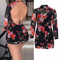 Women Playsuits Summer Romper 2017 Fashion Sexy Women High Neck Long Sleeve Straight Floral Jumpsuits combinaison femme #23