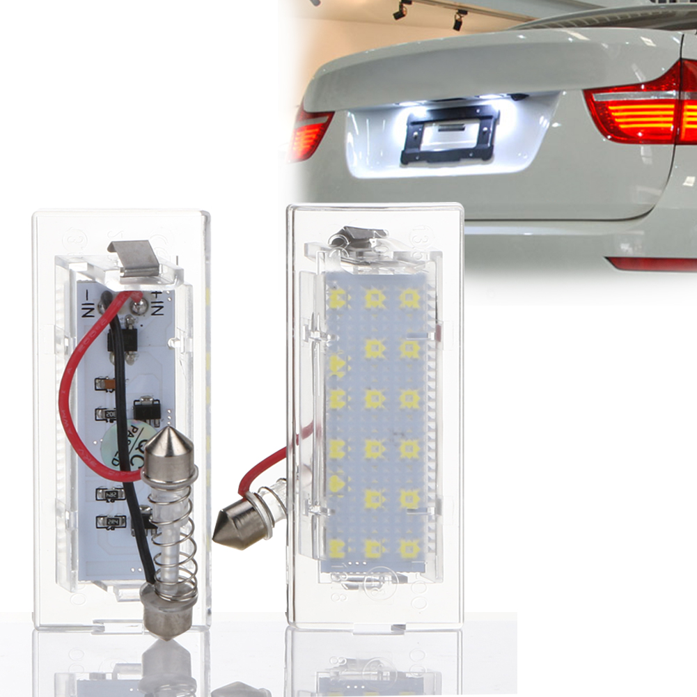 2Pcs 12V 18 LEDs Car Number License Plate Light Ultra White Error Free OBD Automobiles Exterior Lamp Bulbs for BMW X5 E53 2x e marked obc error free 24 led white license number plate light lamp for bmw e81 e82 e90 e91 e92 e93 e60 e61 e39 x1 e84