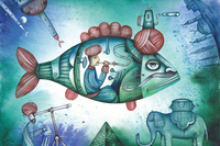 Scientific Fiction Poster Canvas Painting Picture Scenery Prints Cartoon Poster Children Room Green Fish Machines Dream