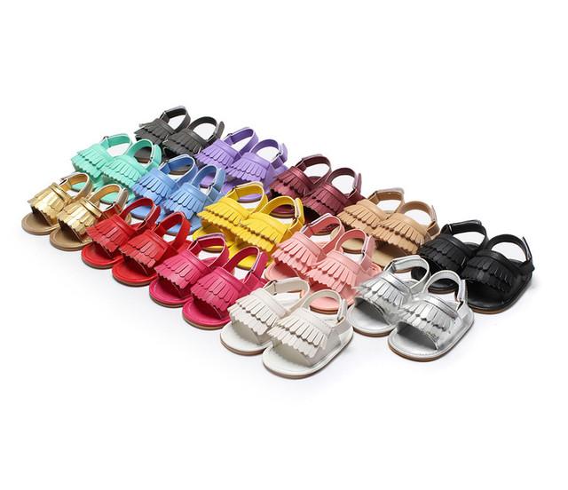 2017 Moda Recién Nacido Niño/Niña Sandalias de Alta Calidad PU Suave Infantil Del Bebé FirstWalker Zapato Mocasín Verano Al Aire Libre 10-14 CM