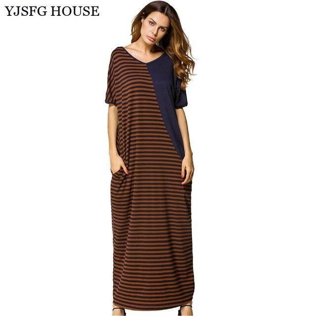 YJSFG HOUSE Women V neck Striped Patchwork Long Maxi Dresses Plus ...