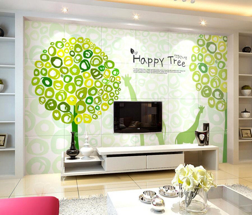 Custom 3D murals,Green fresh abstract tree papel de parede,hotel restaurant living room sofa TV wall children bedroom wallpaper custom 3d murals cartoon wolf papel de parede hotel restaurant coffee shop living room sofa tv wall children bedroom wallpaper