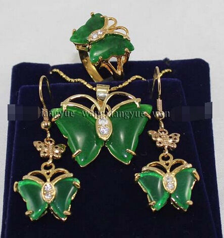 Hot sale@> Inlay Green Jade Ring earrings Necklace Pendant Set Natural jewelry