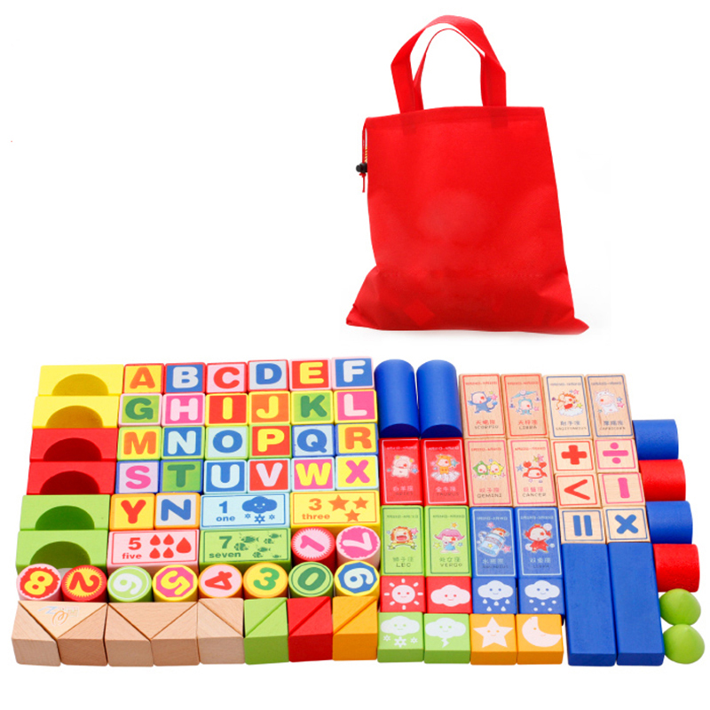 100Pcs/Set Colorful Wooden Building brick block toys Kids Educational Toy Children Digital alphabet learning cognition block 32 pcs setcolor changed diy jigsaw toys wooden children educational toys baby play tive junior tangram learning set
