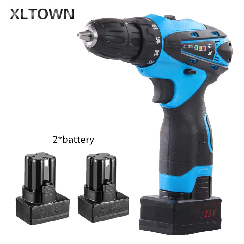 цена на Xltown25v rechargeable lithium battery electric screwdriver with 2 battery two-speed switch mini electric drill power tools