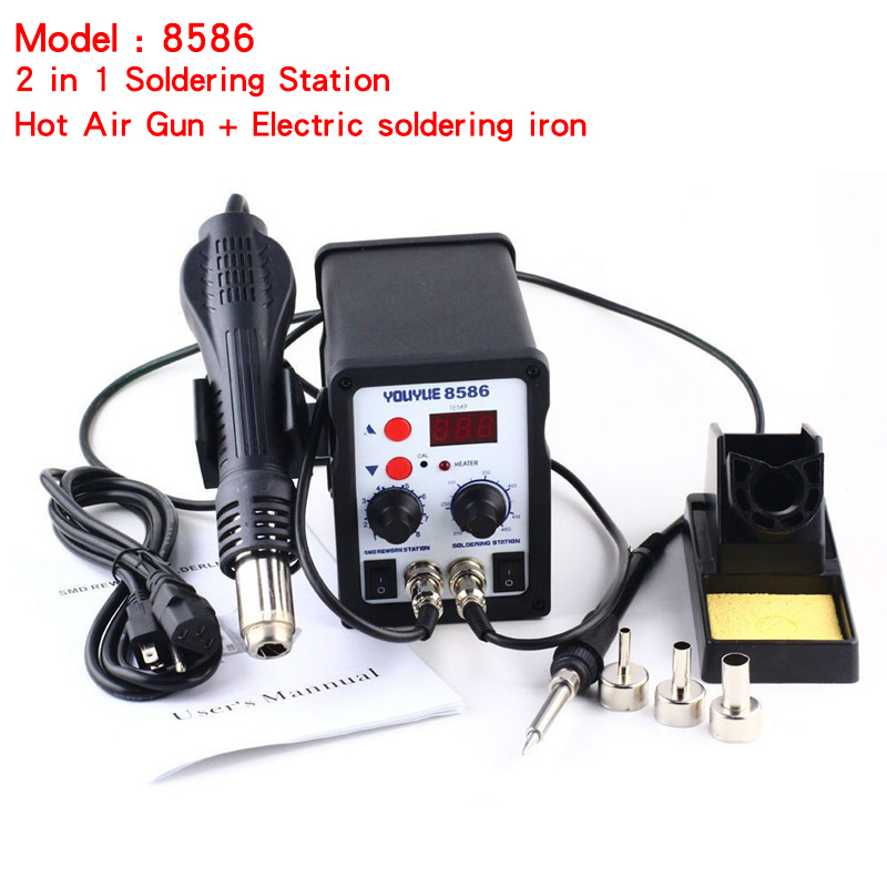 8586 2 in 1 ESD Soldering Station SMD Rework Soldering Station Hot Air Gun set kit Welding Repair tools Solder Iron 220V 110V  цены