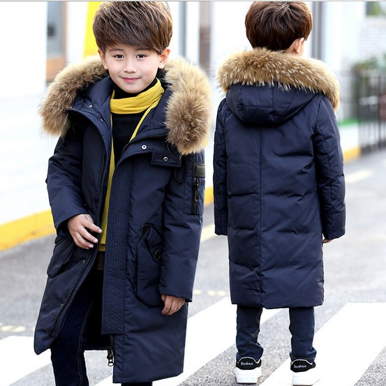 RUSSIA Children's Down Jacket Big Fur Collar Long Thick Teen Boys Winter Coat Duck Down Kids Winter Jackets for Boy Outerwear winter girl jacket children parka winter coat duck long thick big fur hooded kids winter jacket girls outerwear for cold 30 c