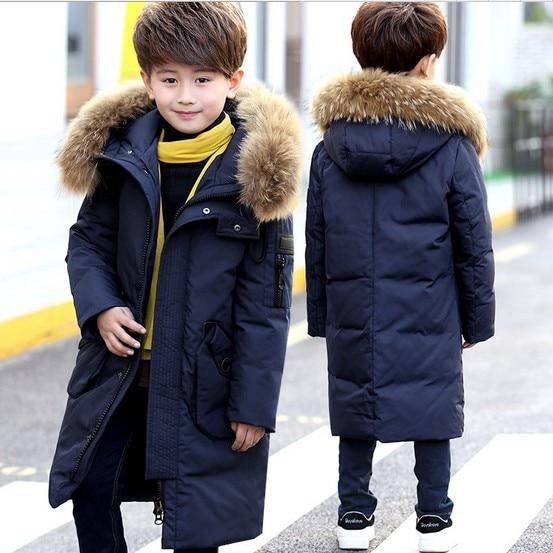 4fbc34620 Children s Down Jacket Big Fur Collar Long Thick Teen Boys Winter ...