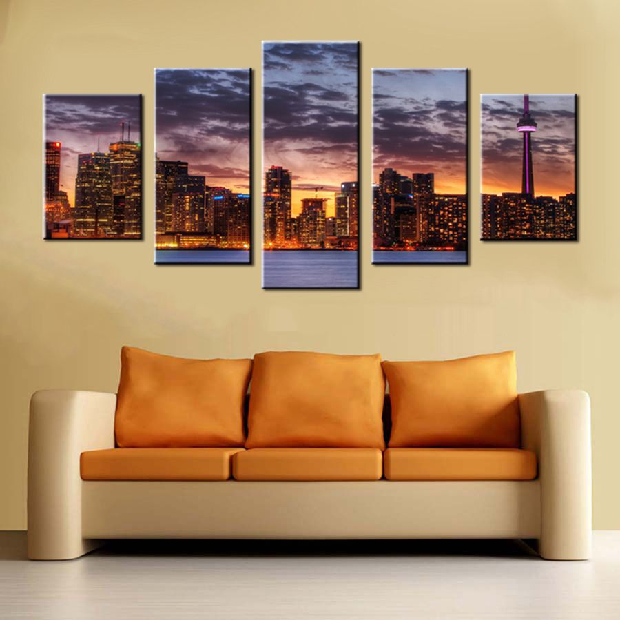 Wall Art Canvas Prints Sunset Chicago Skyline City View Canvas Art ...